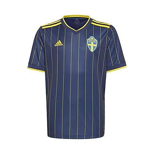 adidas Suecia SVFF Temporada 2020/21 Camiseta Segunda equipación, Unisex, Night Indigo/Yellow, 128