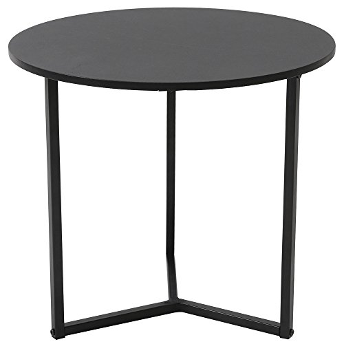 Roomnhome Nordic Side Table, Modern 17''Height Decor Furniture Round/Hexagon Side Table for Bedroom, Living Room, Balcony, Home and Office (Round/Black)