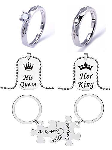El juego de regalo de Navidad de 6 piezas para parejas, incluye un par de anillos, un par de collares y un par de llaveros para regalo de San Valentín