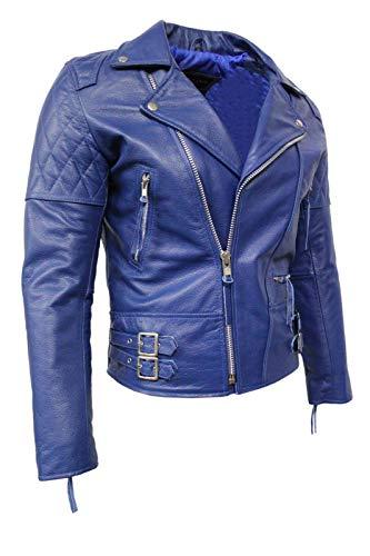 Immobilier Forte Peau de Vache Man 233 Bleu Royal Brando Couleur Style Motard Blouson de Cuir (EU 48 / UK S)