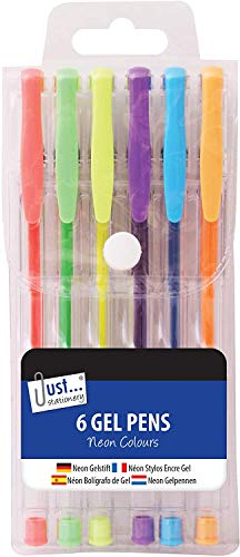 Set of 6 Neon Gel Ink Pen Set - Neon Colours Gel Ink Pens Non-Toxic Long Lasting Ink for Colouring Books Drawing and Writing - Assorted Colours (Pack of 1)