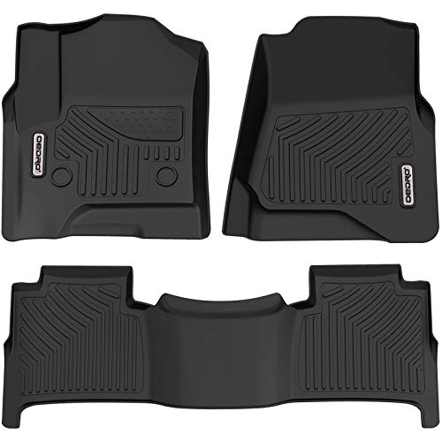oEdRo Floor Mats Compatible for 2015-2020 Chevrolet Tahoe/GMC Yukon, Unique Black TPE All-Weather Guard Includes 1st and 2nd Row: Full Set Liners