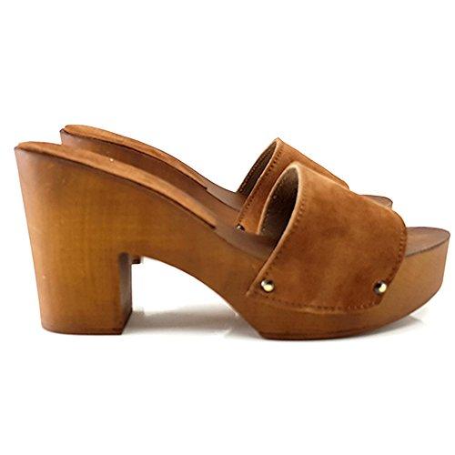 Kiara Shoes Zoccoli Comodi in CAMOSCIO-MY10 Marrone Chiaro (39)