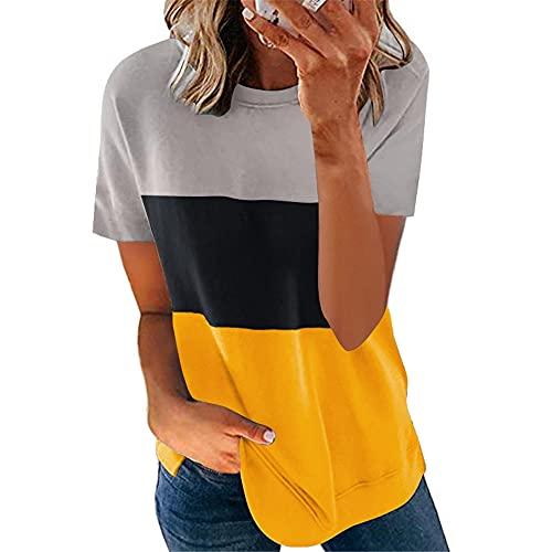 T-Shirt Mujer Moda Básica Manga Corta Tops Mujer Color Contraste Versión Suelta Cuello Redondo Casuales Shirt Mujer Verano Ropa Diaria Cómoda Blusa Mujer N-Grey Yellow M
