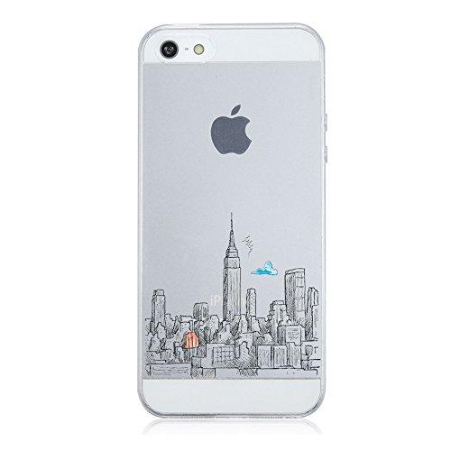 iPhone SE Custodia,iPhone 5 iPhone 5S Case,TPU Simpatici Animali Cover iPhone 5s / 5 / SE Popolari Case Anti-Scratch Gel Silicone Custodia per iPhone 5s / 5 / SE (Città)