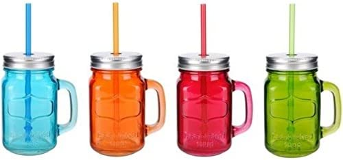 wholesale Glass Mason lowest Jar 4-piece set 15.5 Oz w/Straw With Handles Assorted new arrival Colored Steel Lids outlet sale