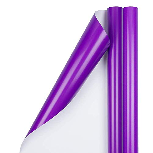 JAM PAPER Gift Wrap - Glossy Wrapping Paper - 25 Sq Ft per Roll - Purple - 2/Pack