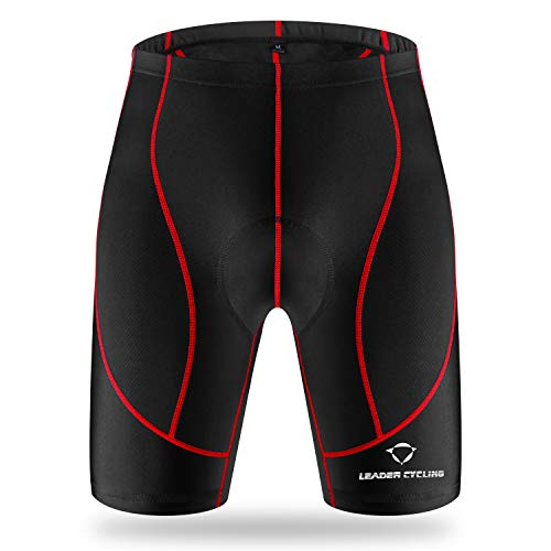 LEADER CYCLING Men's Cycling Shorts 3D Gel Padded Biking Bicycle Bike Pants Breathable Anti-Slip (M, Black-01)