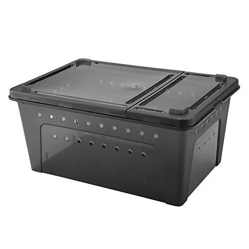 Duokon Caja de alimentación Reptil Contenedor de incubación Contenedor de alimentación ventilado de plástico para Lizard Spider Scorpion(Negro)
