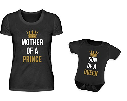 Mutter Baby Sohn Partnerlook T-Shirt Und Babybody Strampler Mother Of A Prince Und Son Of A Queen Mama Kind Partneroutfit