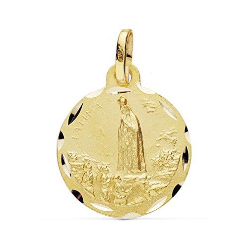 Medalla Oro 18K Virgen Fátima 20mm. [Ab0774Gr] - Personalizable - Grabación Incluida En El Precio