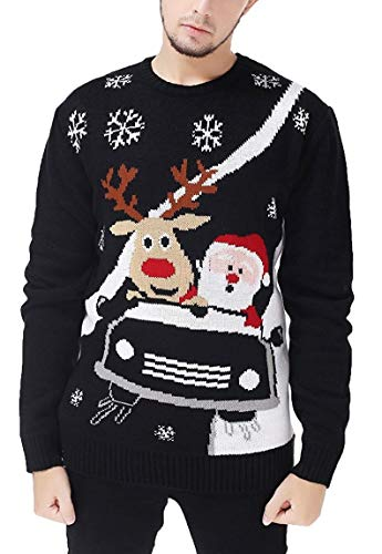 Alex Stevens Mens Marijuana Jacquard Ugly Christmas Sweater