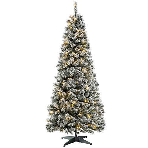 WeRChristmas Pre-Lit Snow Flocked Pop-Up Christmas Tree, 100 Warm White LEDs, 6 feet/1.8 m