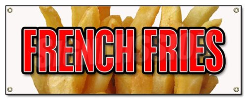 "French Fries Banner 18"" X 48"" Heavy Duty 13 Oz Vinyl Banners with Grommets Single Sided"
