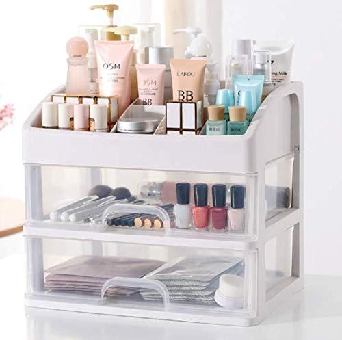 Wuyue Hua Caja de almacenamiento de maquillaje de tamaño pequeño, organizador de cosméticos multicapa transparente para cuarto de baño o dormitorio tocador