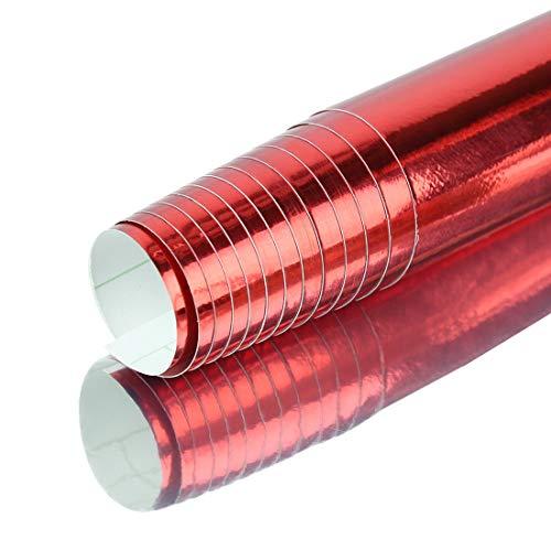 Vinilo adhesivo cromado rojo sin burbujas autoadhesivo para coche, 152 cm x 60 cm