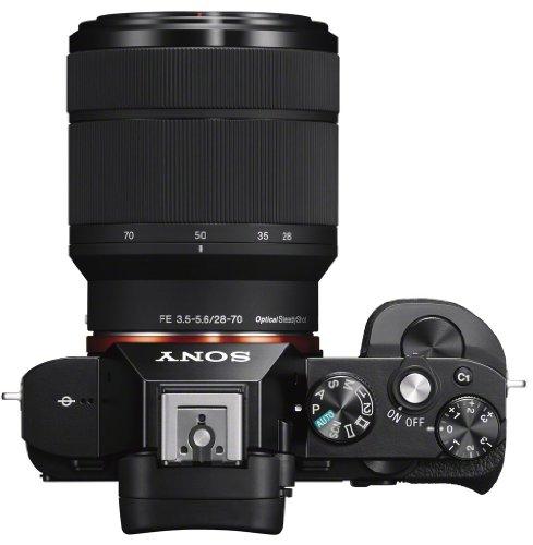 Sony ILCE7KB.CE Full Frame Compact System Camera (28-70 mm Zoom Lens 24.3 MP, 117 Points Hybrid Autofocus, 3 Inch Tiltable LCD, 5 FPS, XGA OLED Tru-Finder) - Black