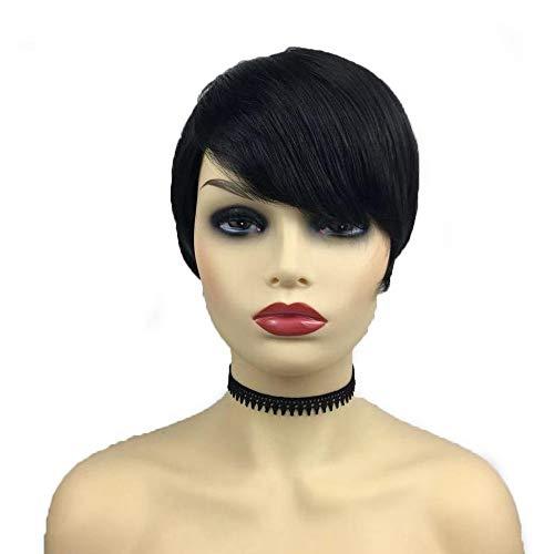 Perruques courtes et droites en fibre chimique unisexe pour homme et femme