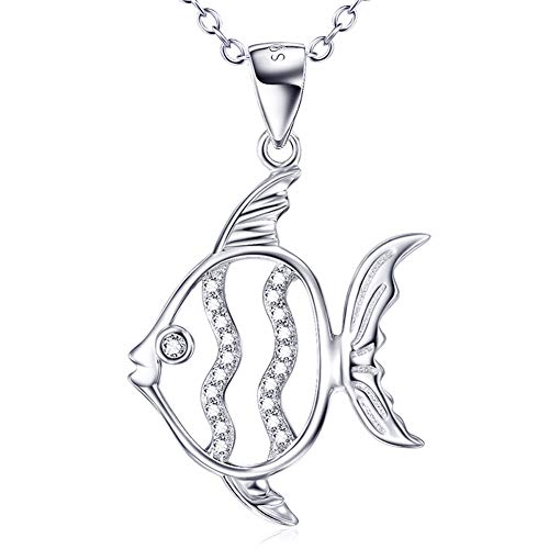 Collar de moda para mujer, colgante hueco de pez coral, joyería de plata y circonio S925, regalo de San Valentín y día de la madre, caja de regalo, peso 3,44 g-Silver