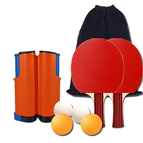 8-Piece Retractable Tabletop Tennis Game Set, Play Almost Anywhere with Expandable Net, 2 Paddles and 4 Balls, Includes Convenient Portable Drawstring Bag,Naranja