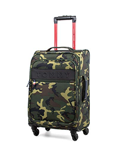 Tommy Hilfiger Network XL Softside Expandable Spinner Luggage, Olive Camo, 20 Inch