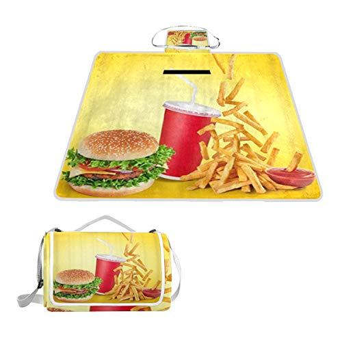 XINGAKA Picknickdecke,Hamburger Fast Food Getränke Pommes Frites Tomatensauce,Outdoor Stranddecke wasserdichte sanddichte tolle Picknick Matte