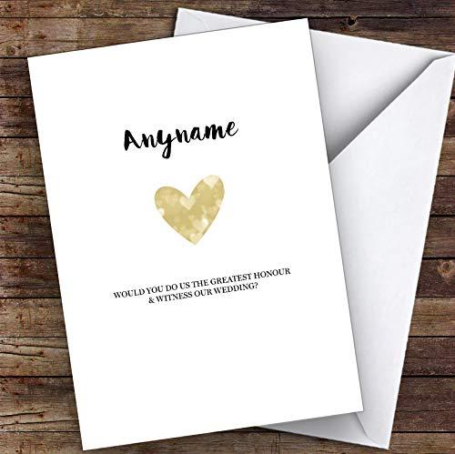 Eenvoudige gouden hart zal je mijn getuige gepersonaliseerde groeten trouwkaart