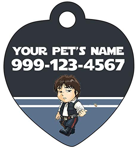 uDesignUSA Star Wars Han Solo Pet Id Tag for Dogs & Cats Personalized w/Name & Number