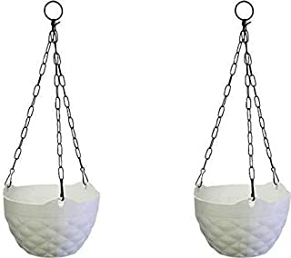MB TRADERS Diamond Hanging Pot (White) Plant Container (Plastic, External Height - 46 cm) Pack of 2