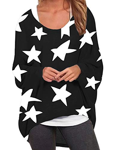 ZANZEA Damen Asymmetrisch Langarm Sweatshirt Blumen Jumper Pullover Oversize Tops 001-blumen11 EU 50/Etikettgröße 3XL