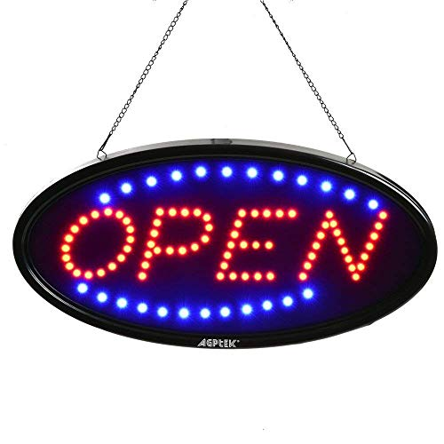 """Open Sign, AGPtek 19x10"""" LED Open Sign Electric Billboard Bright Advertising Board Flashing Window Display Sign with Motion -""""Open"""" (Red/Blue) - Two Modes"""