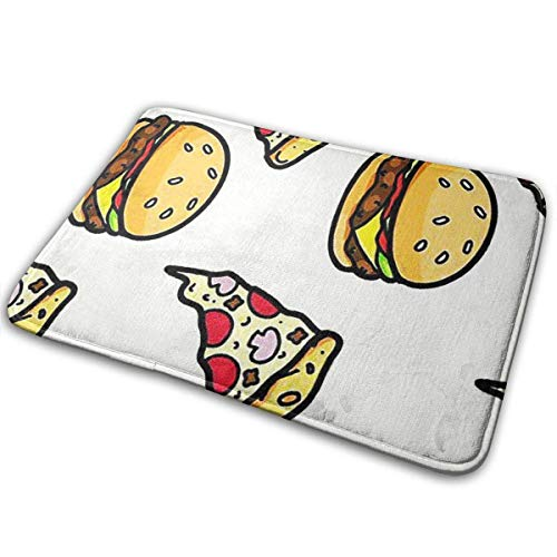 Klotr Fußabtreter, Pizza with Hamburgers Non-Slip Memory Foam Bath Mat Absorbent Super Cozy Velvet Bathroom Rug Carpet