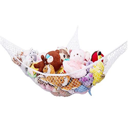 Stuffed Animal Hammock,G-Helper 70 inch Toy Net Hammock for Stuffed Animals Corner Net for Wall Toy Hammock for Kids Baby White