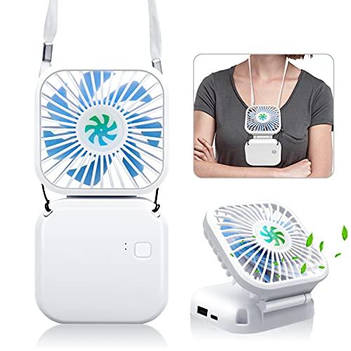 Mini Ventiladores de Mano, Ventilador Portátil USB con Batería Recargable, Ventiladores Plegables con 3 Velocidades para Oficina/Hogar/Viajes/Exterior(blanco)