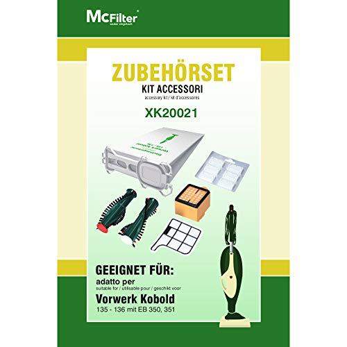 Juego de accesorios para aspiradoras Vorwerk Kobold 135, 136, 135SC (12 bolsas para aspiradora, 2 cepillos para EB 350, 1 filtro HEPA, 1 filtro de motor