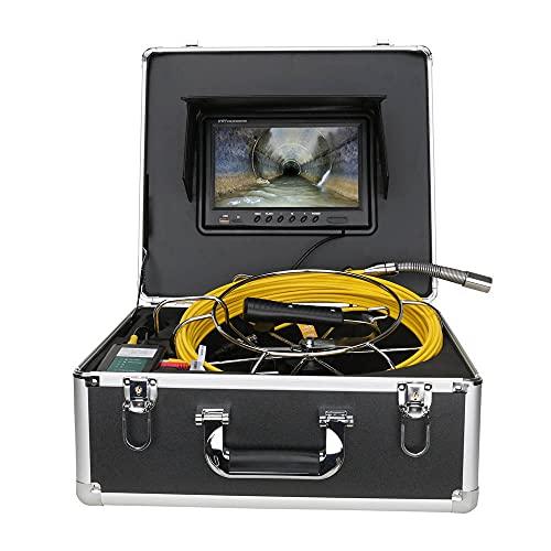 Telecamera per tubo fognario, telecamera per ispezione scarico con contametri, monitor DVR da 9 pollici 512 HZ trasmettitore localizzatore tubo, telecamera IP68 HD 1000TVL (scheda SD 8G inclusa)