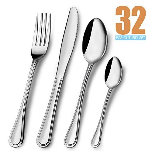 Elegant Life 32 Teiliges Besteck Set Edelstahl, Service für 8 Personen,Messergabel-Löffel-Set Ideal für Zuhause/Camping/Party,einfach zu reinigen und spülmaschinenfest-gesund und spiegelpoliert