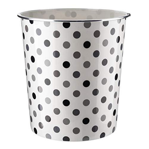 Home Plus - Papelera de 7,7 L, diseño floral, peso ligero, diseño de lunares, color gris, blanco y negro