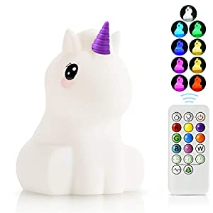 Kids Night Light Nursery Lamp – USB Rechargeable Animal Silicone Lights with Touch Sensor and Remote Control -Portable Color Changing Glow Soft Cute Baby Infant Toddler Girls Gift (Unicorn)