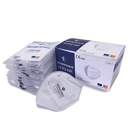 BIODEFENCE Mascarilla FFP2 Española Fabricada y Homologada en España Con Certificación CE 0161, Caja de 20 unidades embolsadas individualmente en bolsa de PE Blanco