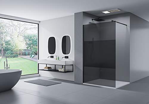 Paroi de douche à l'italienne - nano protection - 8mm - EX101 noir - verre gris et satiné partiel - largeur sélectionnable, Largeur Walk-In:1300mm