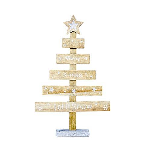 Fulltime® Décorations de Noël, Mini décorations de Bureau en Bois Arbre de Noël, Joyeux Noël, décor de fête (Jaune)