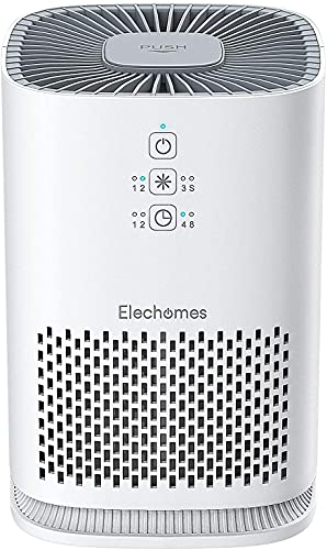 Product Image of the Air Purifier for Home, Elechomes EPI081 Upgrade H13 True HEPA Filter with 4-Stage Filtration for Pollen Pet Dander Smoke, Timer Setting Efficient Quiet Air Cleaner, 99.97%, White