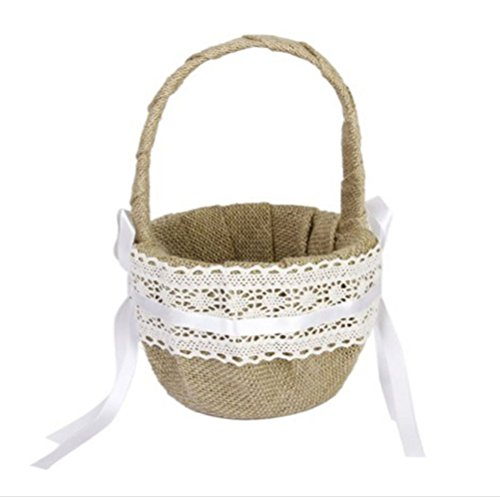 Tinksky Burlap Flower Basket for Wedding Ceremony Party - Delicate Lace Ribbon Decorated