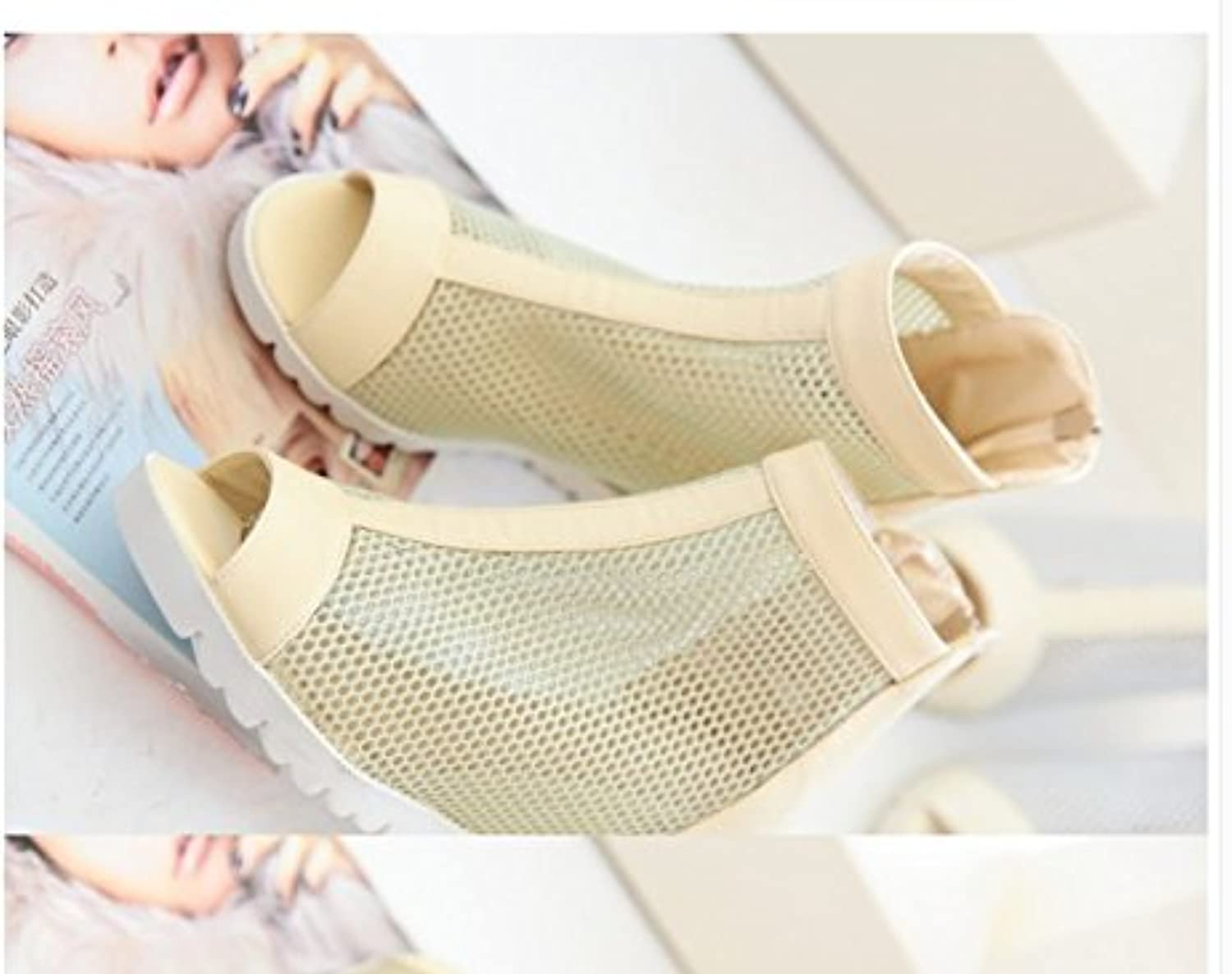 WHW Women's Summer PVC Outdoor Flat Heel Low Heel Fish Mouth Sandals,37,ricewhite