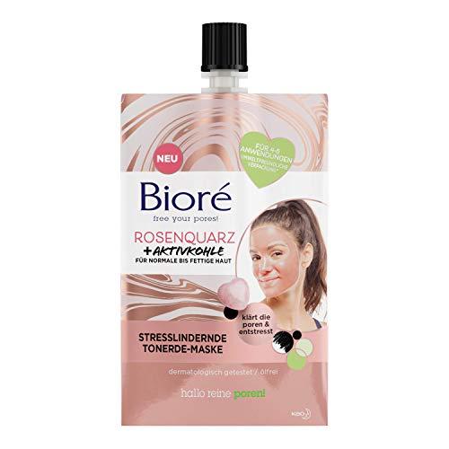 BIORÉ 26421 Rosenquarz + Aktivkohle Tonerde-Gesichts-Maske - Stresslindernd - Für normale und fettige Haut - Klärt die Poren,