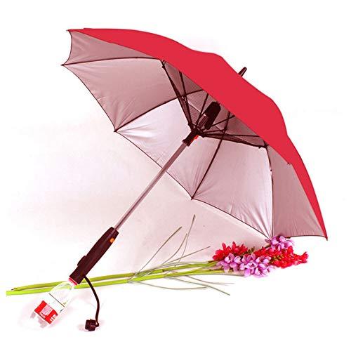 SANGSI Ventilador Paraguas, Paraguas con Mango Largo Ventilador De Sol, Paraguas A Prueba De UV De Protección Solar Paraguas con Ventilador Suplementario Paraguas, Fecha De Plata Roja del Pega