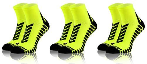 Sesto Senso Calze Corte Sportive Colorate Jogging Donna Uomo 3 Paia Cotone 43-47 Yellow
