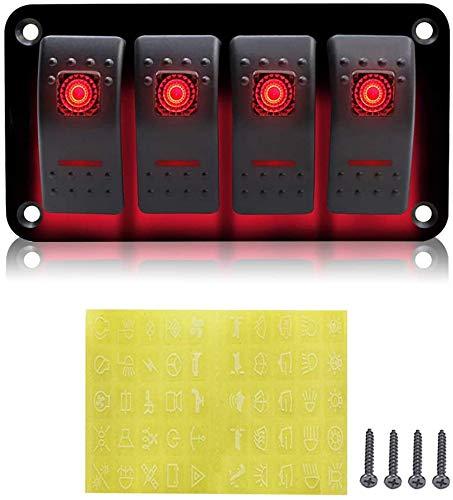 12V 4 Gang Schalttafel LED Lichtschalter für Auto Boot Marine RV Truck Camper Fahrzeuge (Red)