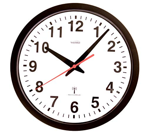 Youshiko Radio Controlled Wall Clock (Official UK & Ireland Version), Stylish Black & White Bold Classic Design (25cm / 10-Inch Diameter), Home/Kitchen/Office/School Clock, Easy to Read
